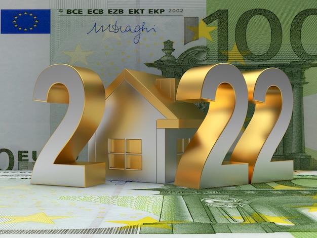 Номер нового года с домиком на банкнотах евро