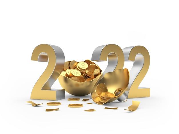 Номер нового года с золотыми монетами в сломанном новогоднем шаре