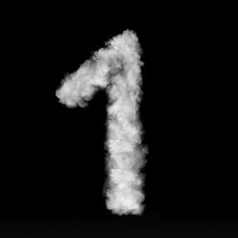 Номер один из белых облаков или дыма на черной стене с копией пространства, а не визуализации.