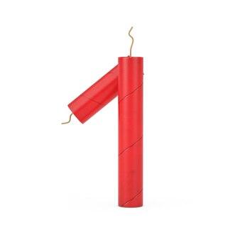 Номер один или 1 как коллекция номеров алфавита клюшек динамита на белом фоне. 3d рендеринг