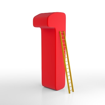 Number one with ladder. 3d rendering