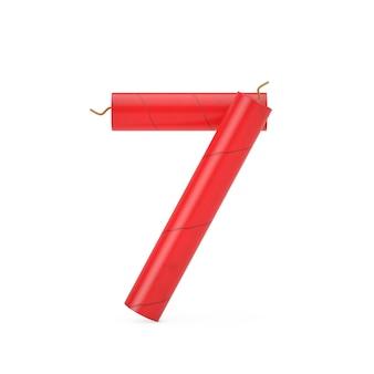 Номер семь или 7 как динамитные палочки коллекции номеров алфавита на белом фоне. 3d рендеринг