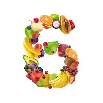 Number six made of different fruits and berries
