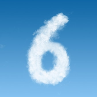 Number six made of white clouds on blue sky