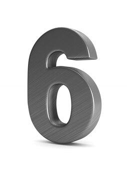 Номер шесть на белом фоне. изолированная 3-я иллюстрация