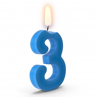 Number three cake candle