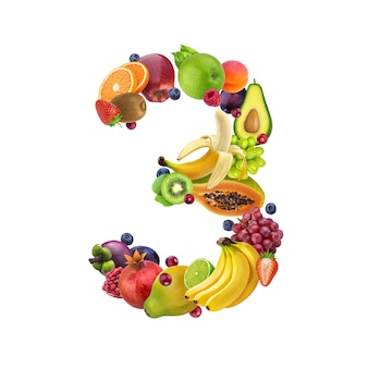 Number three made of different fruits and berries