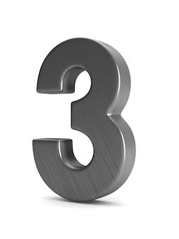 Номер три на белом фоне. изолированная 3-я иллюстрация