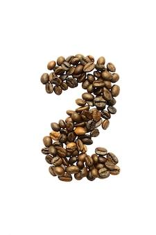白い背景で隔離のコーヒー豆から2番目