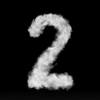 Номер два из белых облаков или дыма на черной стене с копией пространства, а не визуализации.