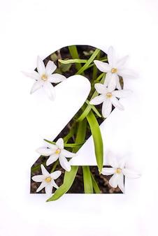 番号2:小さな花を持つ白いステンシル