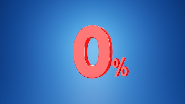 Number zero percent for discount 0 % or vat 0 % concept. 3d on blue background.3d rendering