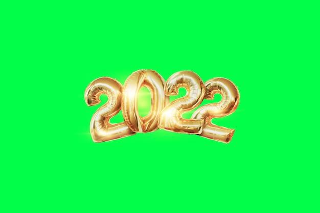 Цифры 2022 из воздушных шаров из золотой фольги. с новым годом. современный дизайн на зеленом фоне, изолировать. шаблон оформления, заголовок для сайта, плакат, новогодняя открытка, флаер. 3d иллюстрации, 3d визуализация.