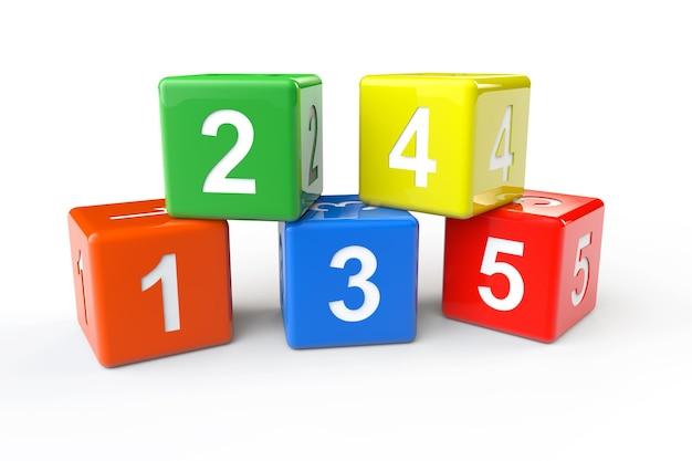 흰색 배경에 숫자 다채로운 블록