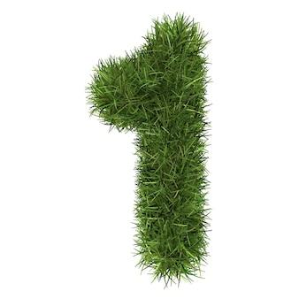 隔離された草の芝で作られた番号
