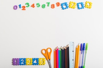 Numbers near set of stationery