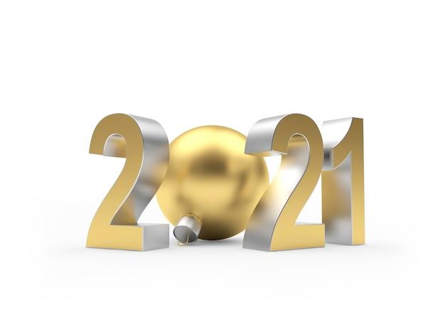 Цифры новый год с елочным шаром