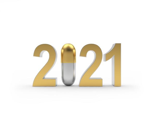Числа новый год с золотой медицинской капсулой