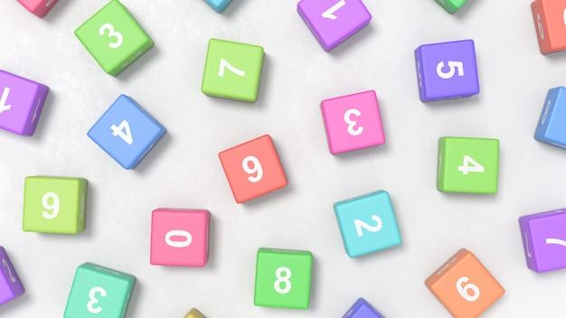 Цифры на кубиках colofrul на сером фоне
