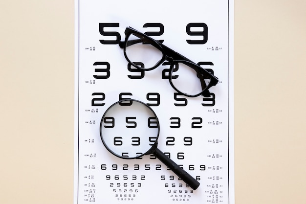 Numbers table with glasses and magnifier