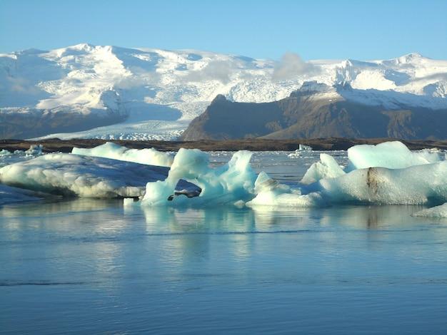 Numerous huge icebergs floating on jokulsarlon glacier lagoon of south iceland