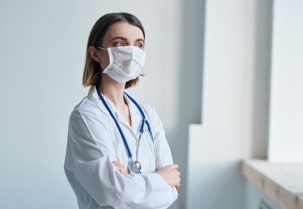 백의 의료 마스크 병원 간호사