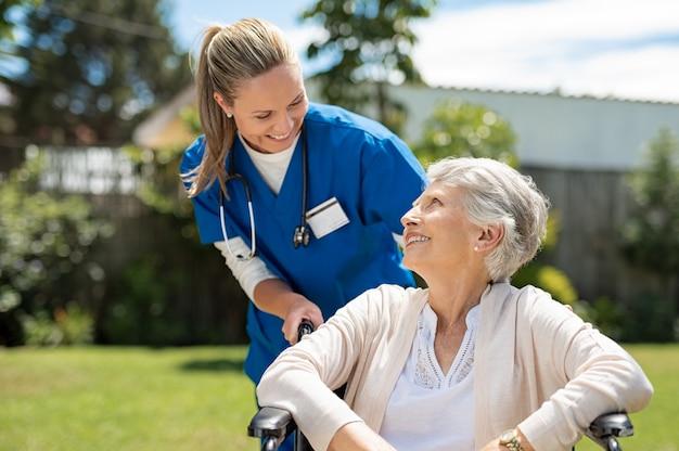 Nurse take care of senior patient