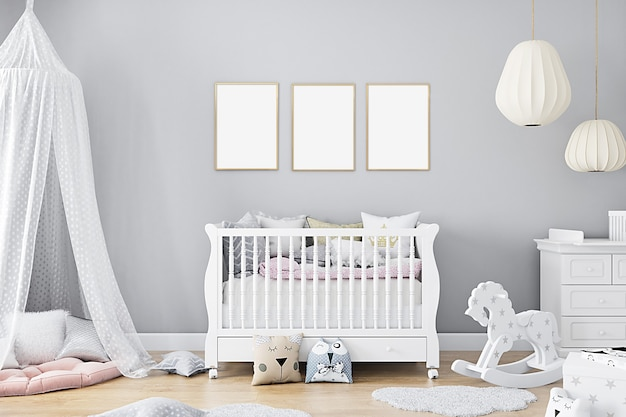 Nursery mockup with three frames on gray wall background