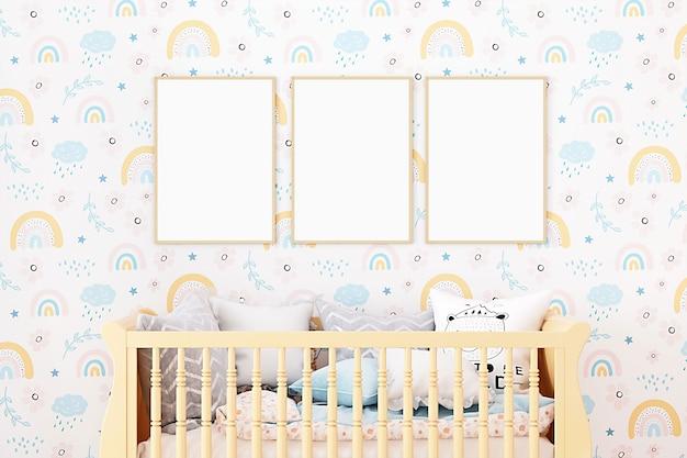 Nursery room mockup of three frames with wood bed