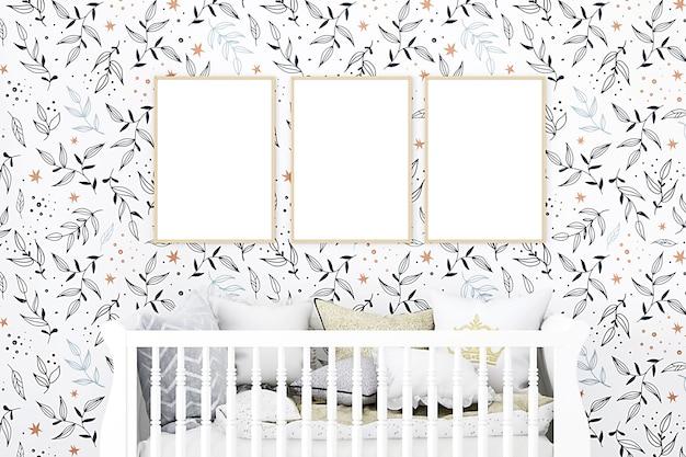 Nursery room mockup of three frames