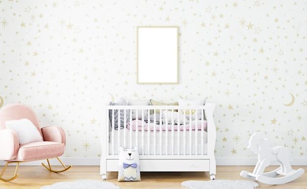 Nursery room mockup with gold frame