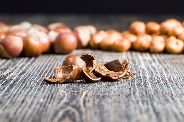 Скорлупа орехов после получения съедобной части, твердая скорлупа фундука, сердцевина лесного ореха используются в пищу, а скорлупа будет выброшена в мусор, крупным планом