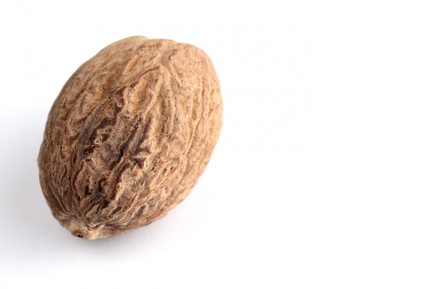 Nutmeg isolated. close up.