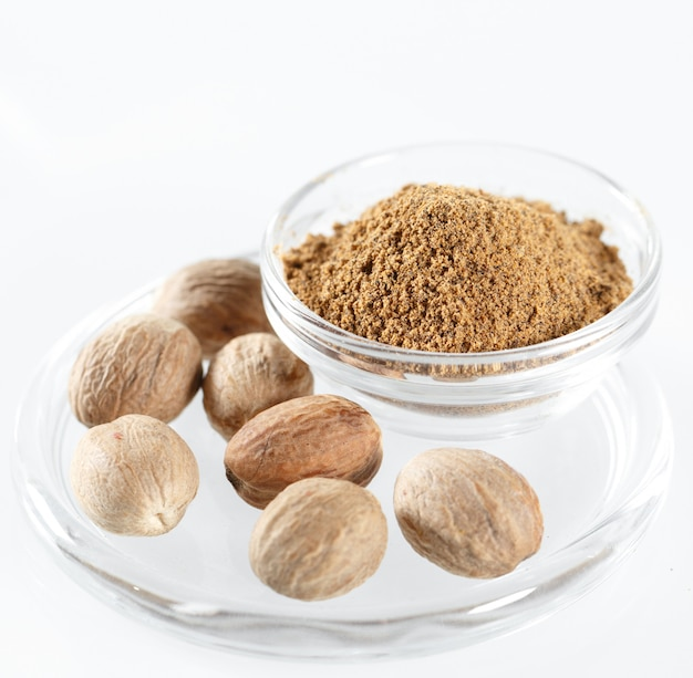Nutmeg isolated in white.