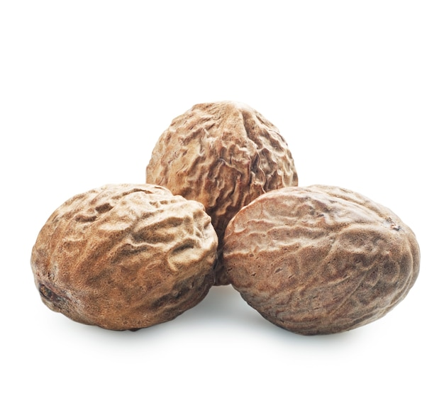 Nutmeg isolated on a white
