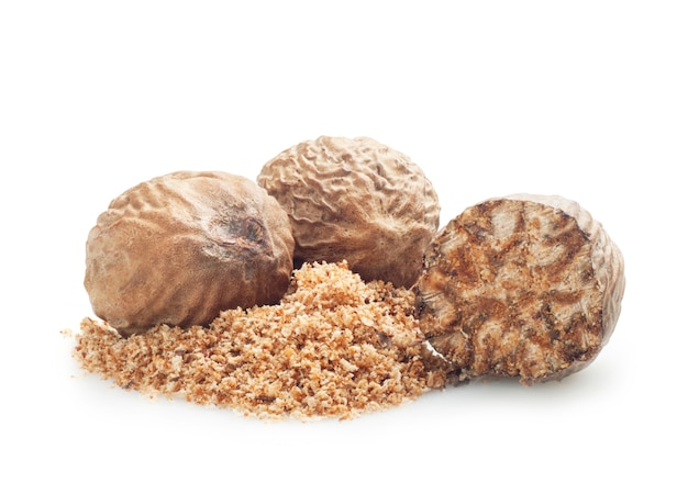 Nutmeg isolated on white