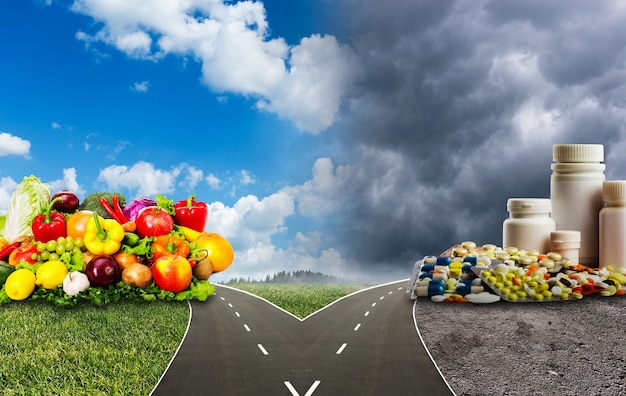 Nutrition choices dilemma between healthy food or medical pills