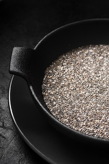 Nutritious chia seeds in bowl