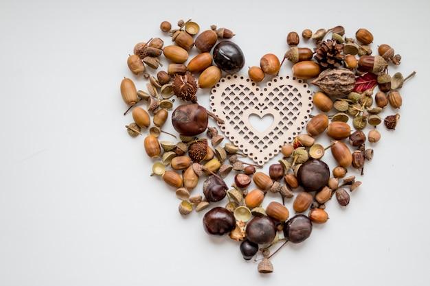 Орехи желудь как сердце, игрушка в форме сердца, еловые шишки и орехи на белом background.autumn украшения