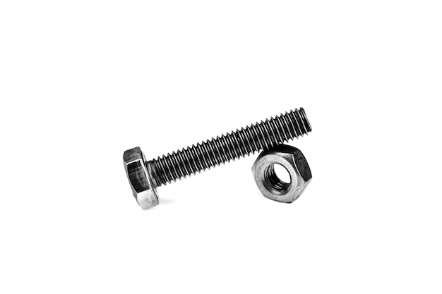 Nuts and bolts isolated on white background.