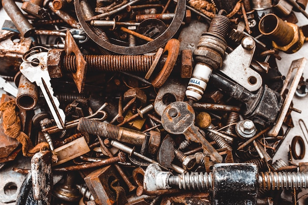 Nuts and bolts key details background grunge steampunk texture