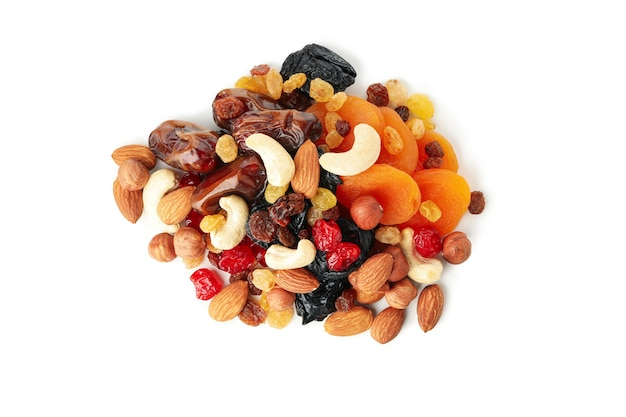 Nuts and dried fruits isolated on white background