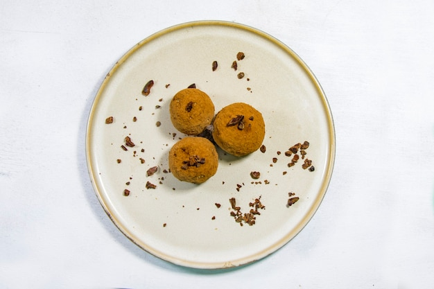 Nuts energy ball on the white background