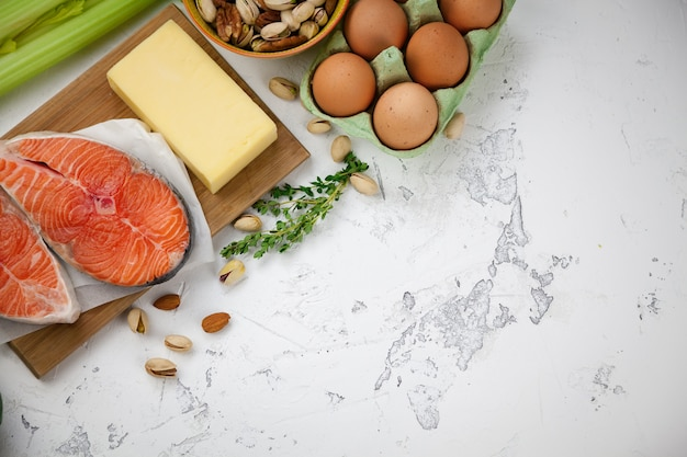Nuts, salmon, eggs, milk products, greens
