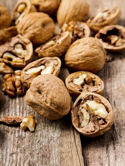 Nuts. walnuts on a dark wood background