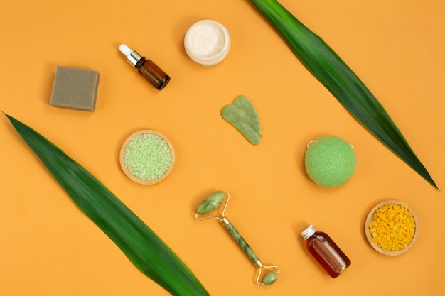Nutural body care cosmetic products. beauty and spa concept.