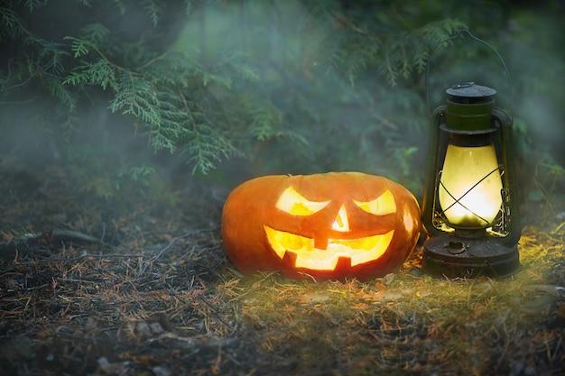 Светящийся джек o фонарь в темном лесу тумана на хэллоуин.