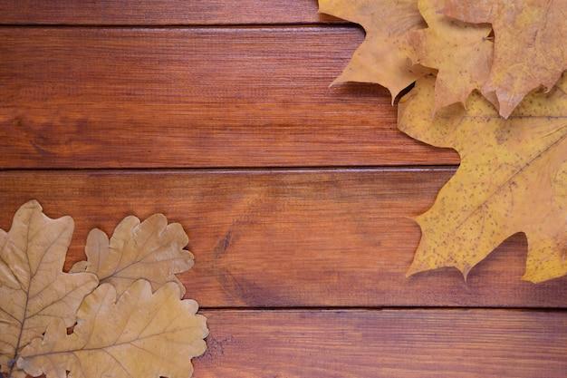 Дубовые и кленовые листья лежат на коричневом деревянном фоне в центре есть место