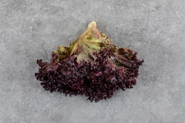 Салат дубовых листьев на серой поверхности