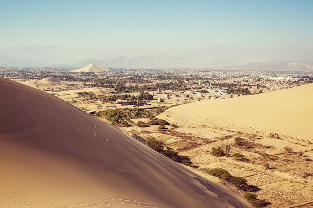 Oasis in desert sand dunes near the city of ica, peru